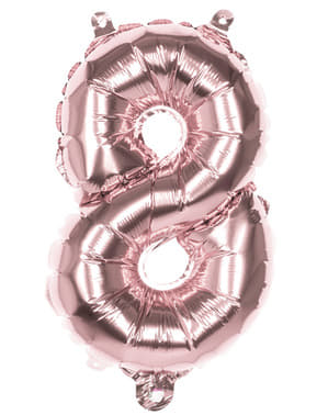 Rose gold balloon number 8 measuring 36cm