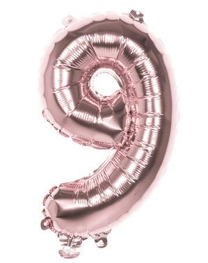 Rosegull ballong nummer 9 med mål på 36cm