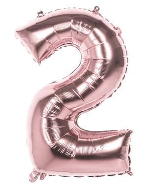 Balonek růžové zlato o rozměru 86 cm s číslem 2