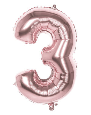 Balonek růžové zlato o rozměru 86 cm s číslem 3