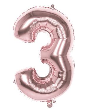 Розов златен балон номер 3 с размери 86см