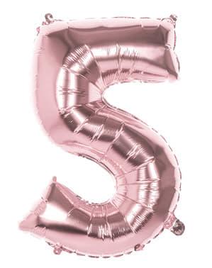 Balonek růžové zlato o rozměru 86 cm s číslem 5