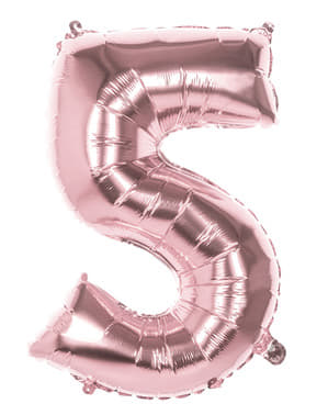 Rose gold balloon number 5 measuring 86cm
