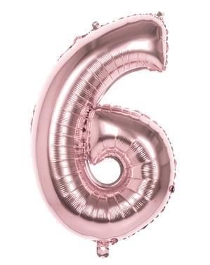 Balonek růžové zlato o rozměru 86 cm s číslem 6