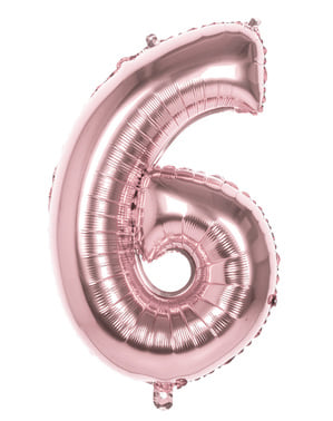 Rose gold balloon number 6 measuring 86cm