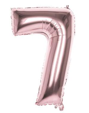Balonek růžové zlato o rozměru 86 cm s číslem 7