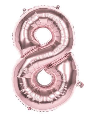 Rosegull ballong nummer 8 med mål på 86cm