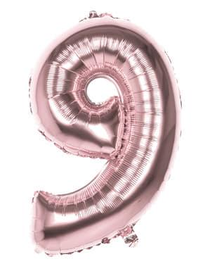 Rosegull ballong nummer 9 med mål på 86cm