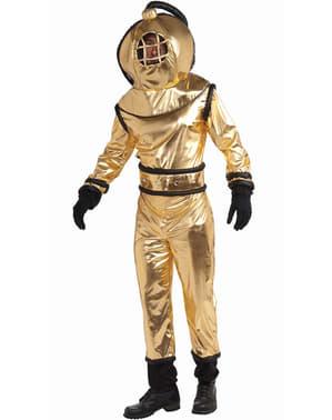 Kostým pro dospělé starodávný potápěč zlatý