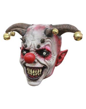 Narr mit Hörnern Horrorclown Maske