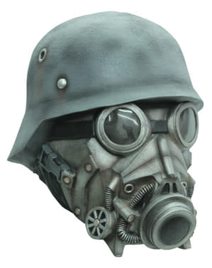 Gas maske med hjelm