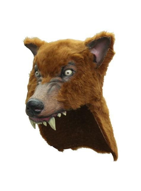 Casque de loup marron