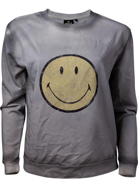 Sudadera de Smiley gris para mujer
