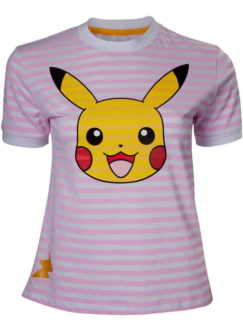 Rosaachu stripete T-Skjorte til dame - Pokemon