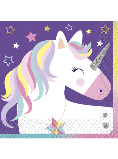 16 servilletas de unicornio - Happy Unicorn