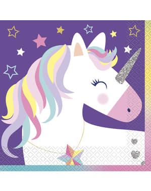 16 Fødselsdags enhjørning servietter - Happy Unicorn