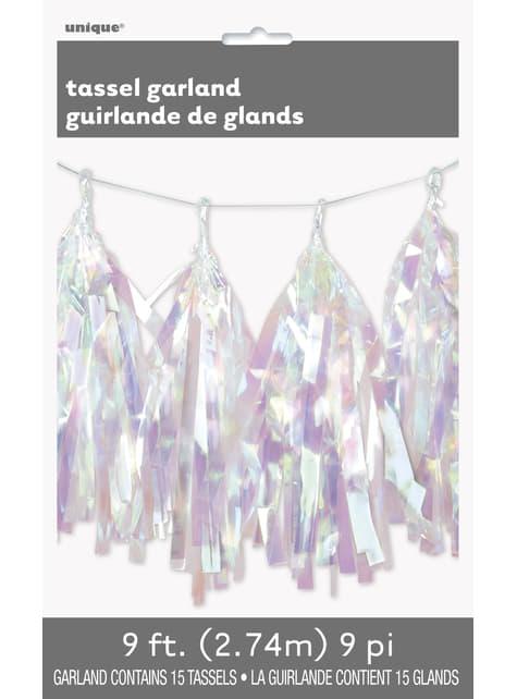 Grinalda de pompons metalizados iridescente