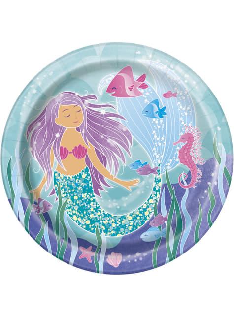 Set of 8 mermaid plates - Mermaid under the sea