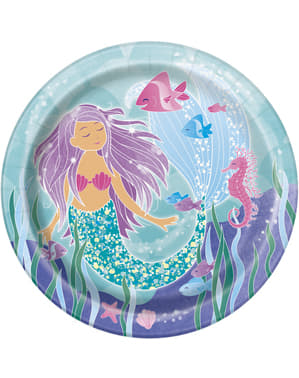 8 farfurii cu sirene (23 cm) - Mermaid under the sea