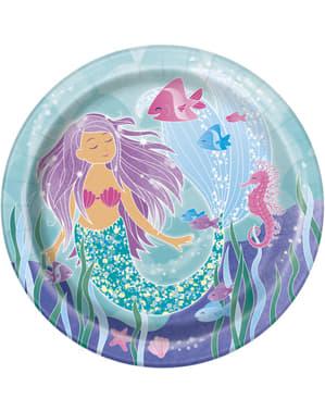 Sett med 8 Havfrue plates - Havfrue under havet