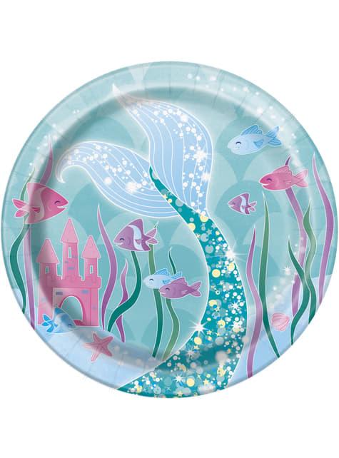 8 pratos de sobremesa de sereia (18 cm) - Sereia debaixo do mar
