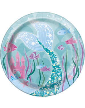 8 platos pequeños de sirenas (18 cm) - Sirena bajo del mar