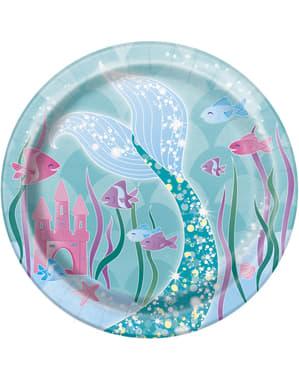 Sett med 8 Havfrue desserttallerkener - Havfrue under havet