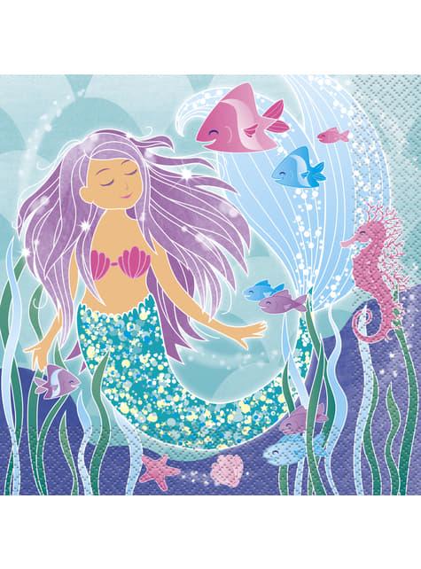 Set of 16 mermaid napkins - Mermaid under the sea
