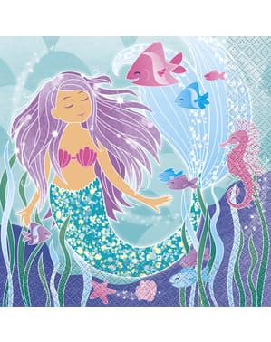 Meerjungfrau Servietten Set 16-teilig - Sirene unter dem Meer