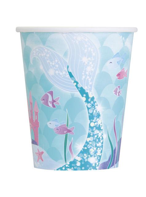 Conjunto de 8 copos de sereias - Sereia debaixo do mar