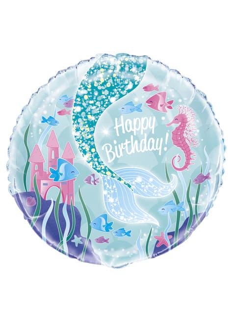Globo de foil Happy Birthday cola de sirena - Sirena bajo del mar