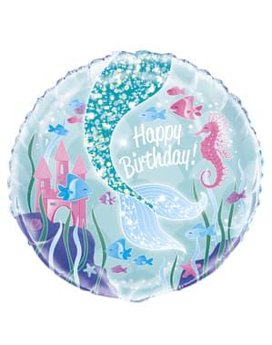 Hyvää Syntymäpäivää merenneidon pyrstö -folioilmapallo – Mermaid under the sea