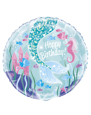Tillykke med fødselsdagen havfrue hale folieballon - Mermaid under the sea