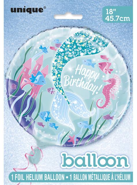 Globo de foil Happy Birthday cola de sirena - Sirena bajo del mar - para tus fiestas