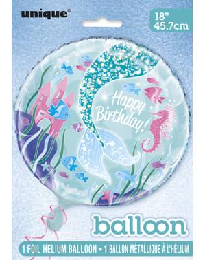 Folieballong Happy Birthday sjöjungfrusvans - Sjöjungfru i havet