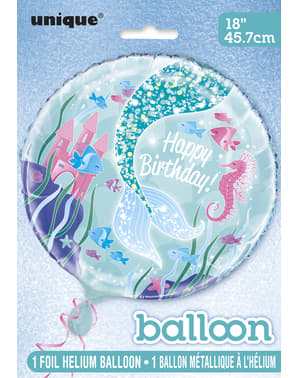 Globo de foil Happy Birthday cola de sirena - Sirena bajo del mar