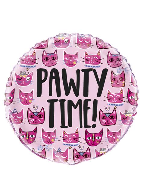 Balão de foil let's pawt - Gatos cor-de-rosa