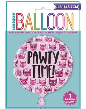 Folieballong let's pawt - Rosa katter