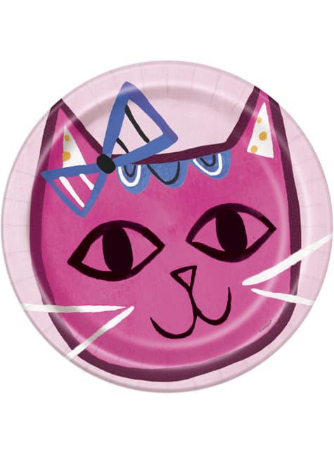 Conjunto de 8 pratos - Gatos cor-de-rosa