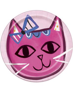 8 platos de gatos (23 cm) - Gatos rosas