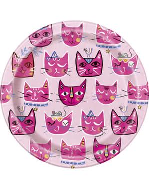 8 platos de gatos pequeños (18 cm) - Gatos rosas