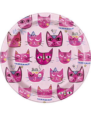 8 Small Cat Plates (18cm) - Lets Pawty