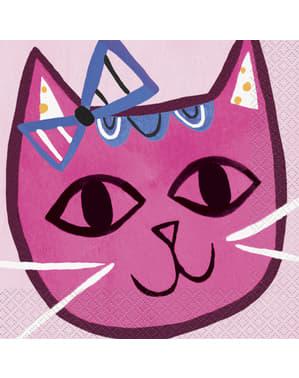 Sett med 16 servietter - Rosa Katter