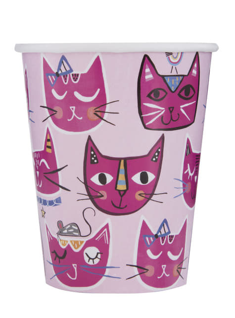Conjunto de 8 copos - Gatos cor-de-rosa