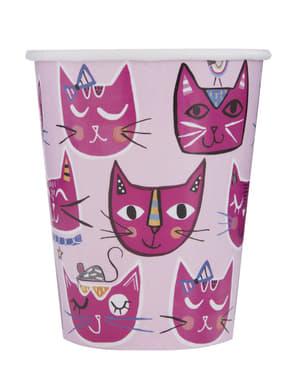 8 vasos de gatos - Gatos rosas