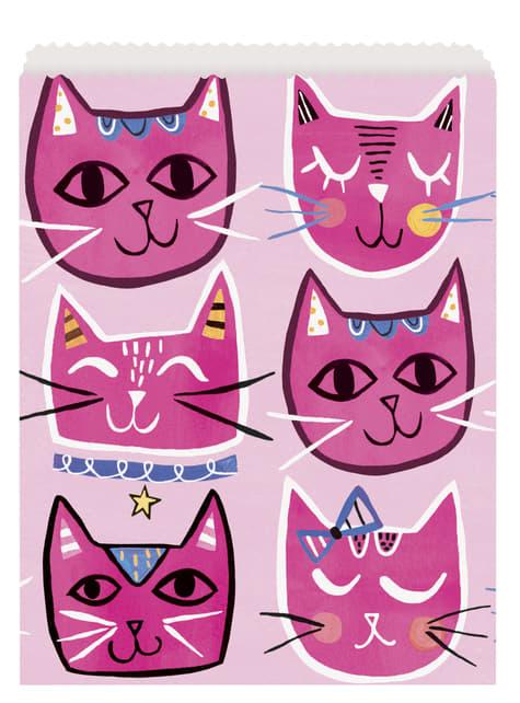 Conjunto de 8 sacos para doces - Gatos cor-de-rosa