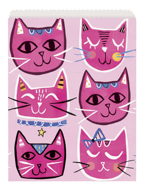 8 sachets à bonbons chats roses - Lets Pawty