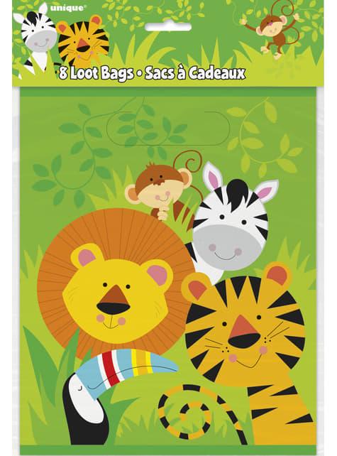 8 bolsas para chucherías - Animal Jungle - para tus fiestas