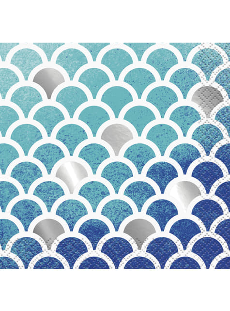 16 servilletas de cóctel (13x13 cm) - Ocean Blue Scallop