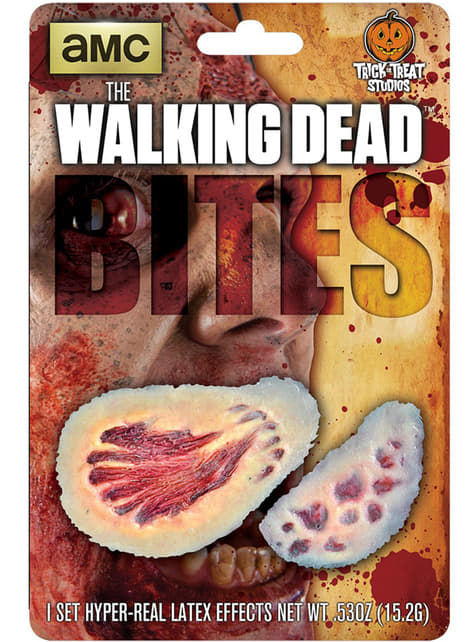 Prótesis de látex mordiscos sangrientos The Walking Dead